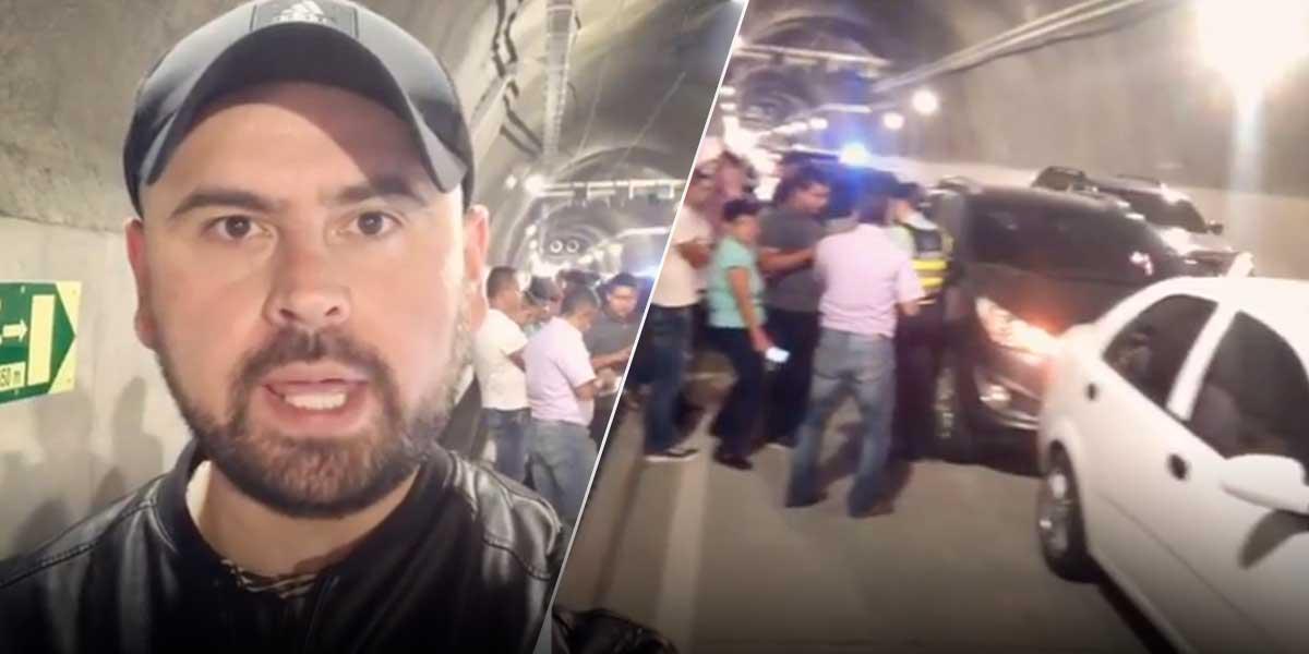 El humorista Ricardo Quevedo vivió el primer accidente de tránsito en el Túnel de Oriente