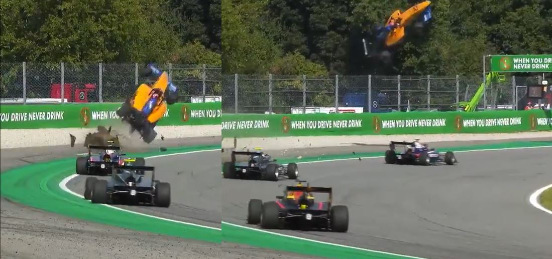 Aterrador accidente en carrera de la F3: el auto voló, pero el piloto salió caminando