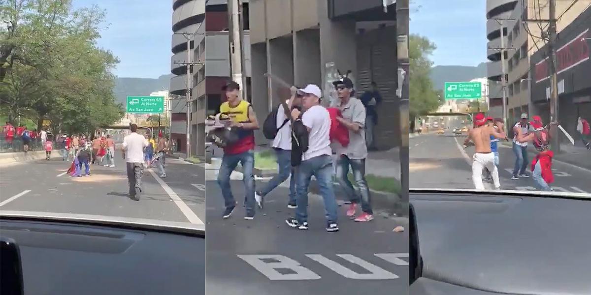 Video | Hinchas del DIM se pelearon con machete antes del clásico con Nacional