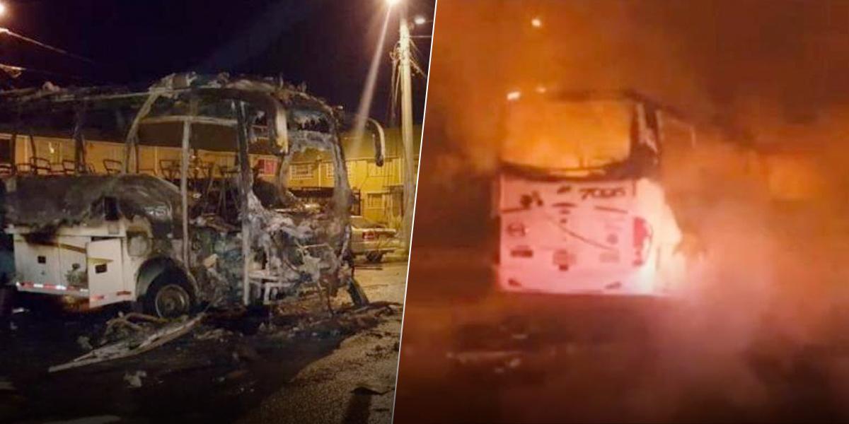 Tres hombres incineraron un bus de pasajeros en un parqueadero de Soacha