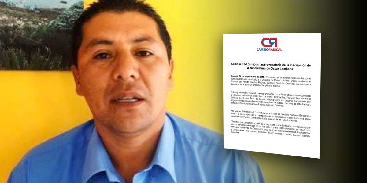 Cambio Radical se pronuncia sobre Óscar Lombana, el candidato que se autosecuestró
