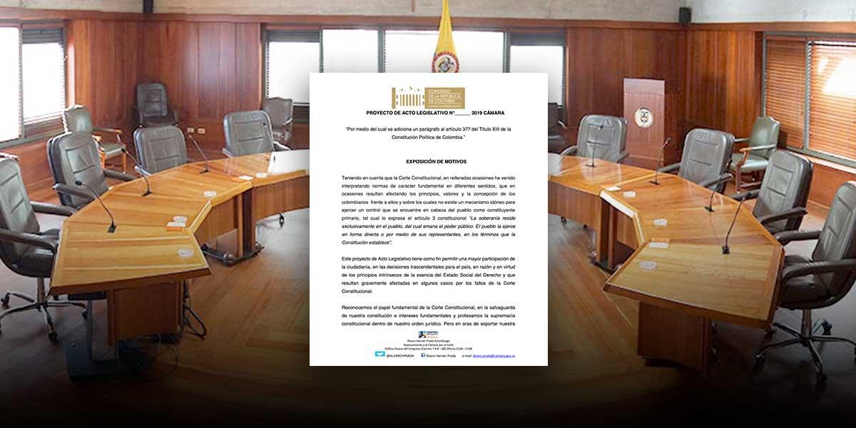 Centro Democrático presenta proyecto para tumbar vía referendo decisiones de la Corte Constitucional