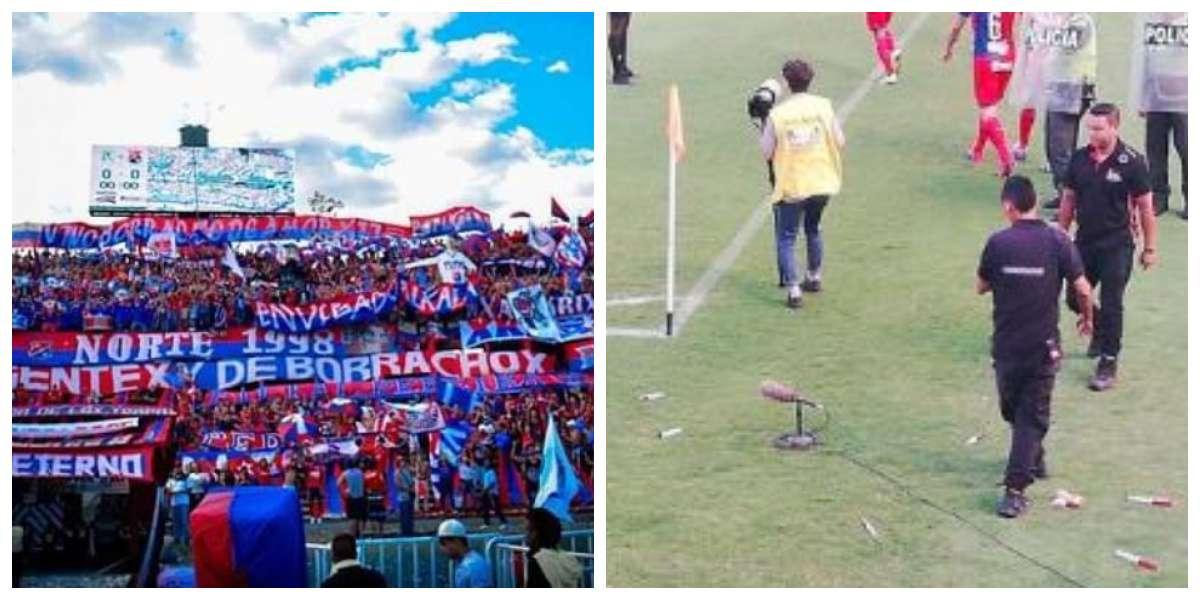 Aficionados del DIM arrojaron jeringas con sangre a jugadores y mostraron una durísima pancarta