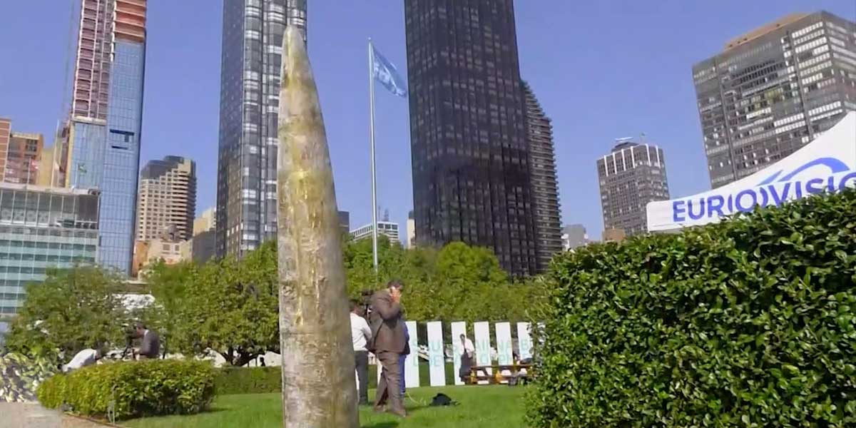 En la ONU, en Nueva York, ya se erige la escultura testimonial de los acuerdos de paz