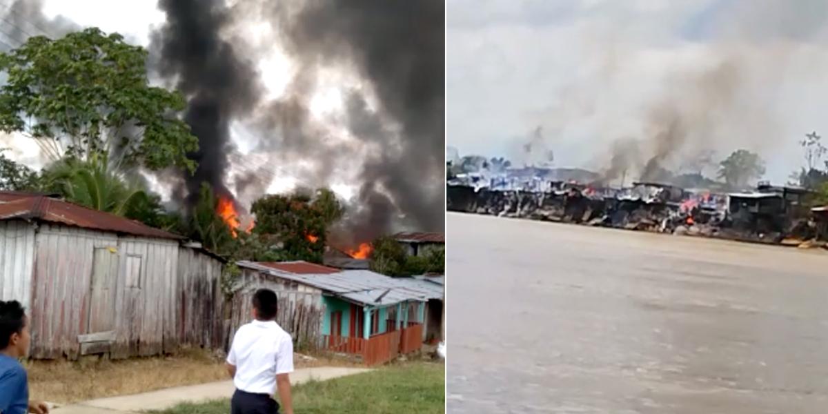 Incendio en estación de servicio de Putumayo dejó 15 viviendas incineradas y tres heridos