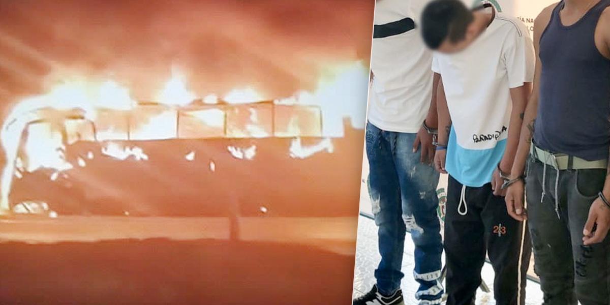 Envían a la cárcel a presuntos autores de quema de bus en Alto de Rosas, Cundinamarca