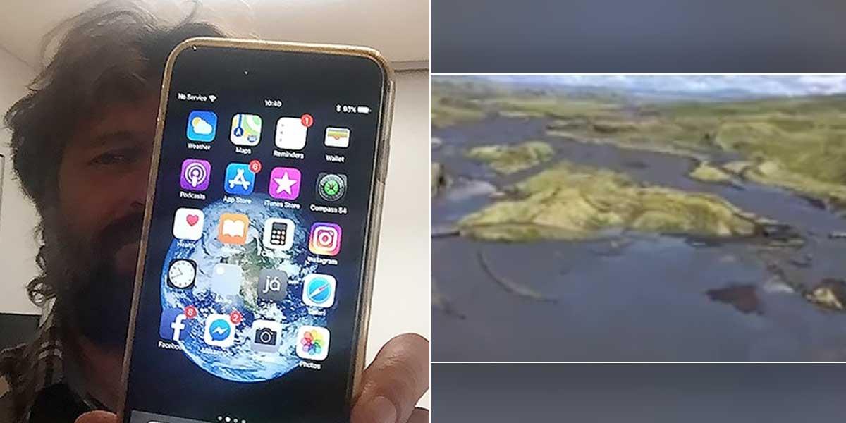 Dejó caer su teléfono desde un avión, lo recupera intacto un año después y con el video de la caída