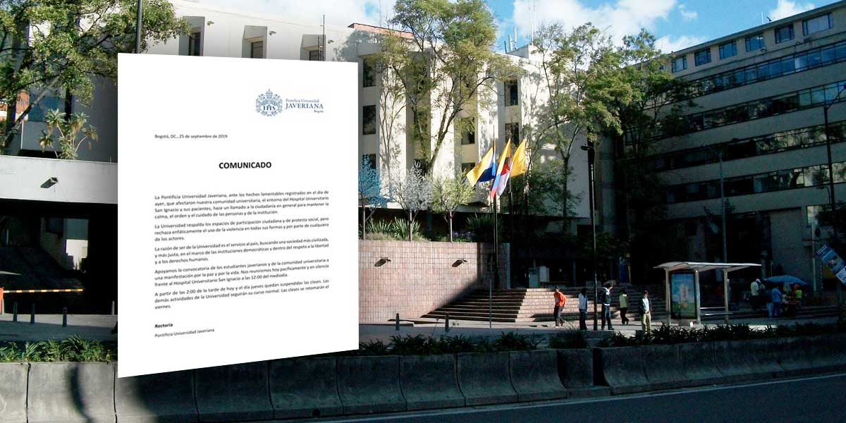 Universidad Javeriana anuncia suspensión de clases desde este miércoles
