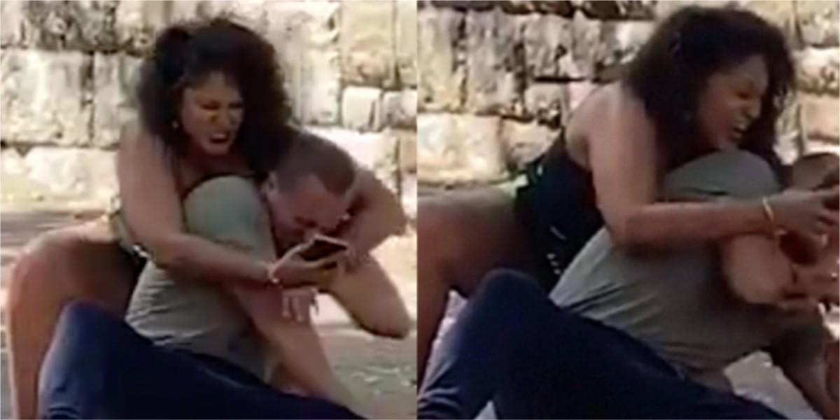 mujer pelea con su novio contraseña telefono celular