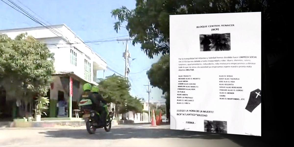 Panfleto amenaza a presuntos delincuentes en Soledad, Atlántico
