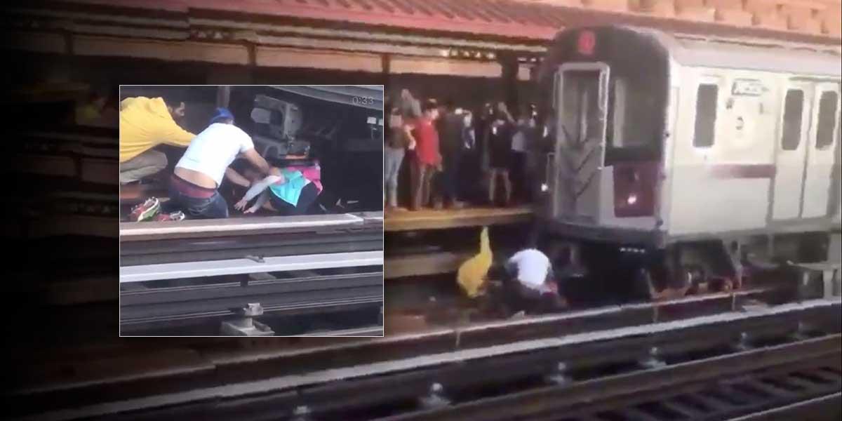 Milagroso rescate: un hombre se lanzó con su hija en brazos al paso del tren en Nueva York