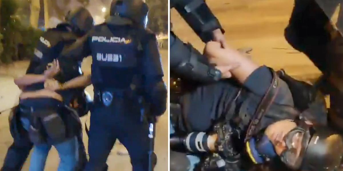 Policía arresta a fotógrafo de El País en medio de las protestas en Cataluña y ante la impotencia de sus colegas