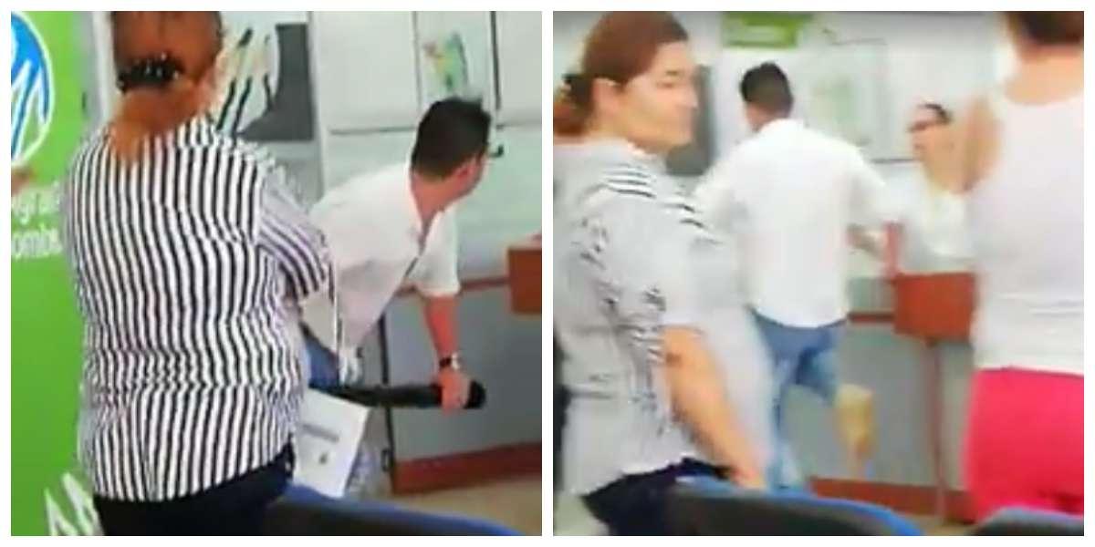 Enfurecido hombre casi destroza un banco buscando al amante de su pareja