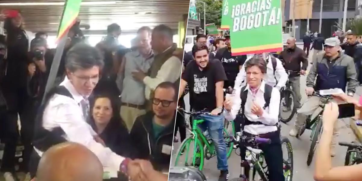 Claudia López llegó en bicicleta a su puesto de votación. Envió un mensaje con Antanas Mockus