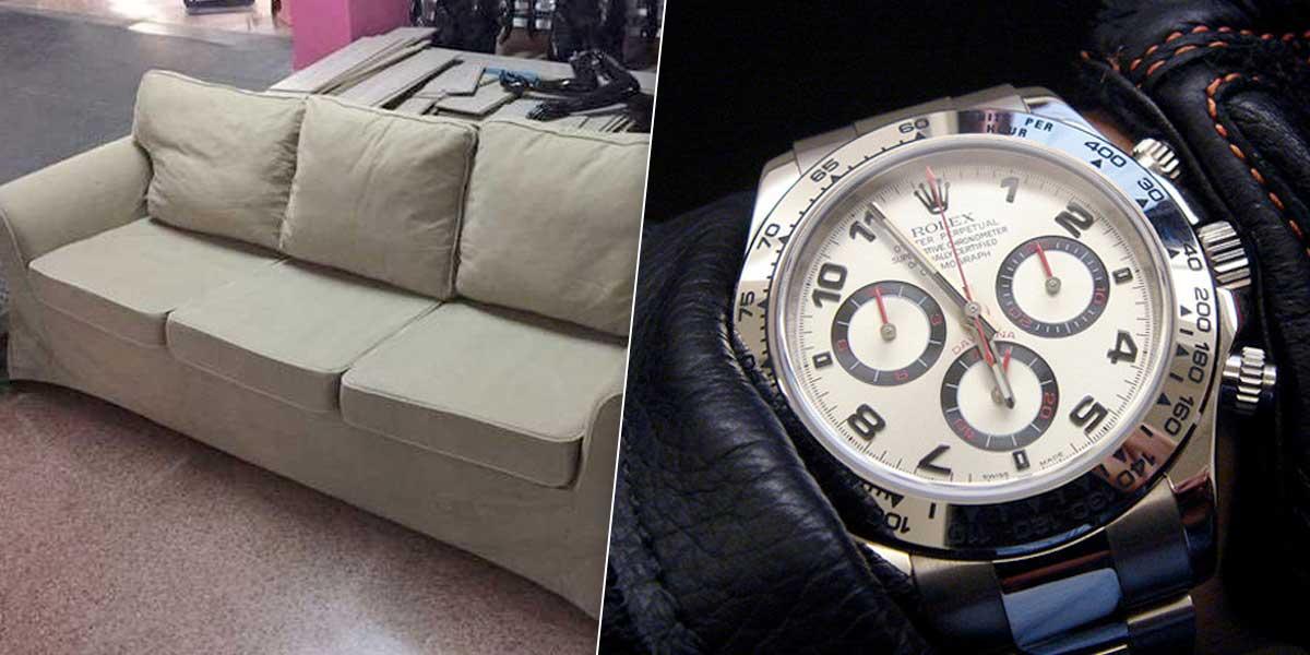 Mujer compra sofá usado por 25 dólares y encuentra dentro del mismo un rolex de 250.000
