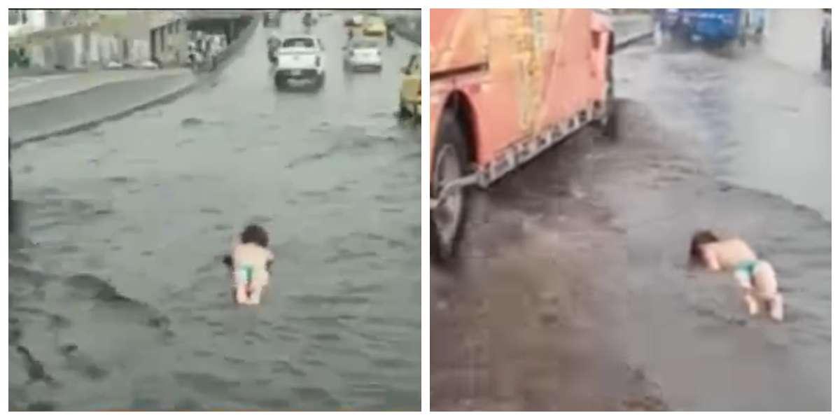 (Video) Mujer nadó semidesnuda en plena vía inundada de Bogotá