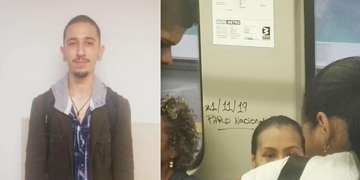 Esto pasó en Medellín cuando descubrieron a un joven rayando el metro