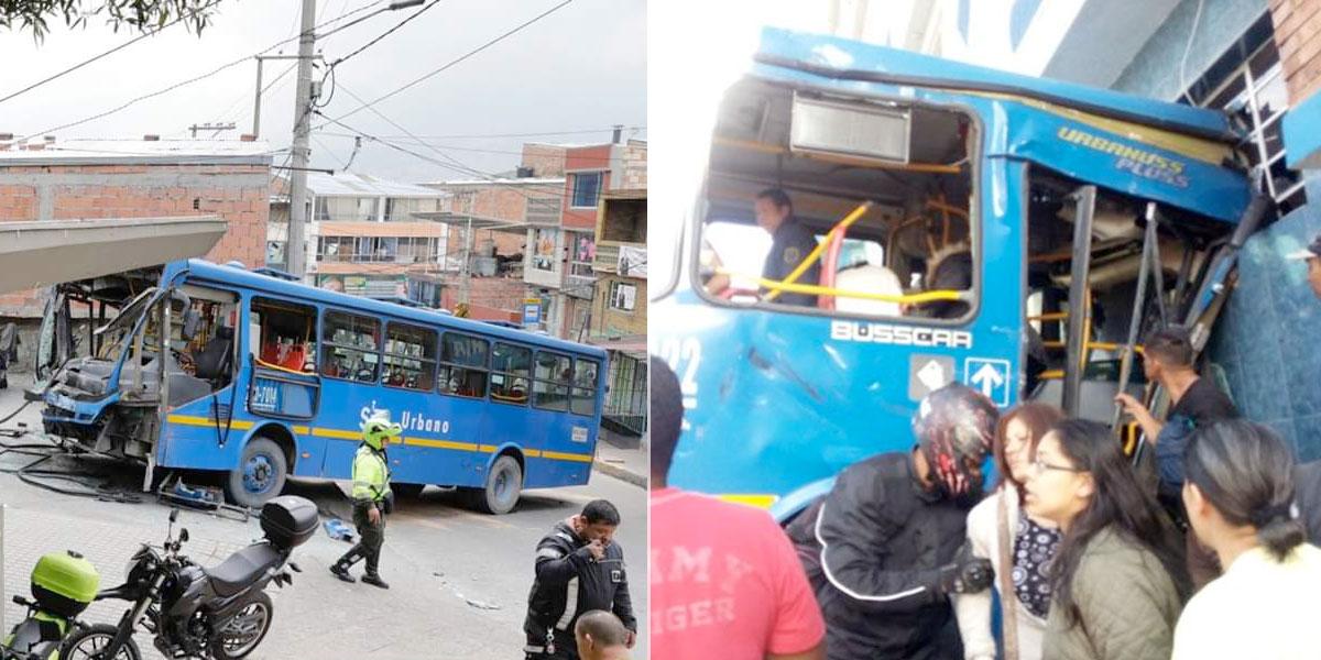 Al menos 53 heridos tras el choque de dos buses del Sitp en el sur de Bogotá