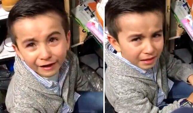 """(VIDEO) Niño responde, en medio del llanto, que """"el colegio no lo inventó Dios"""" y recibe apoyo masivo"""