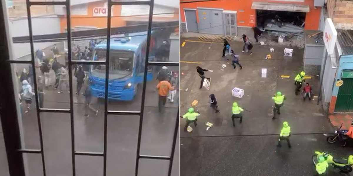 Vándalos irrumpieron con un bus Sitp robado en un Ara y saquearon en cuestión de segundos