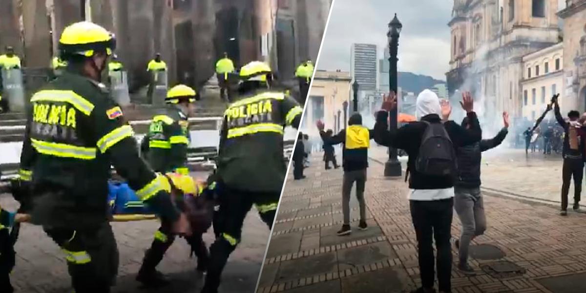 Sin razón aparente, Esmad despeja con gases y bombas protesta pacífica en la Plaza de Bolívar
