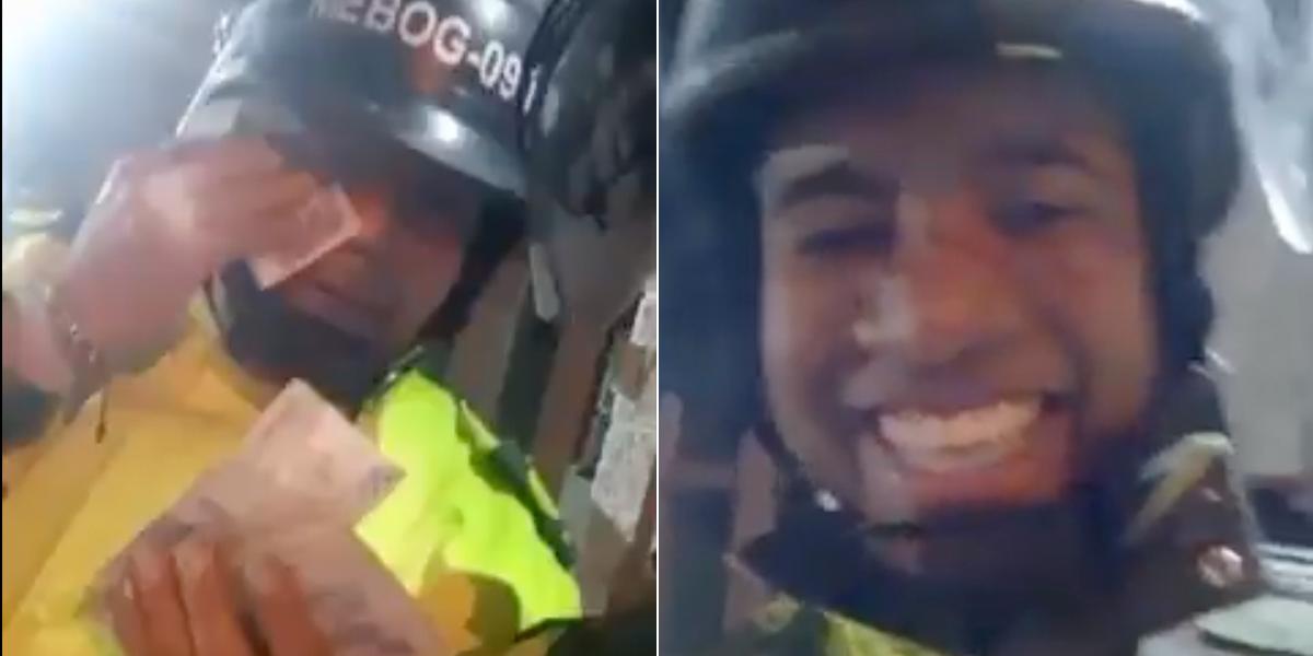 Policías se graban burlándose de los estudiantes con un fajo de billetes