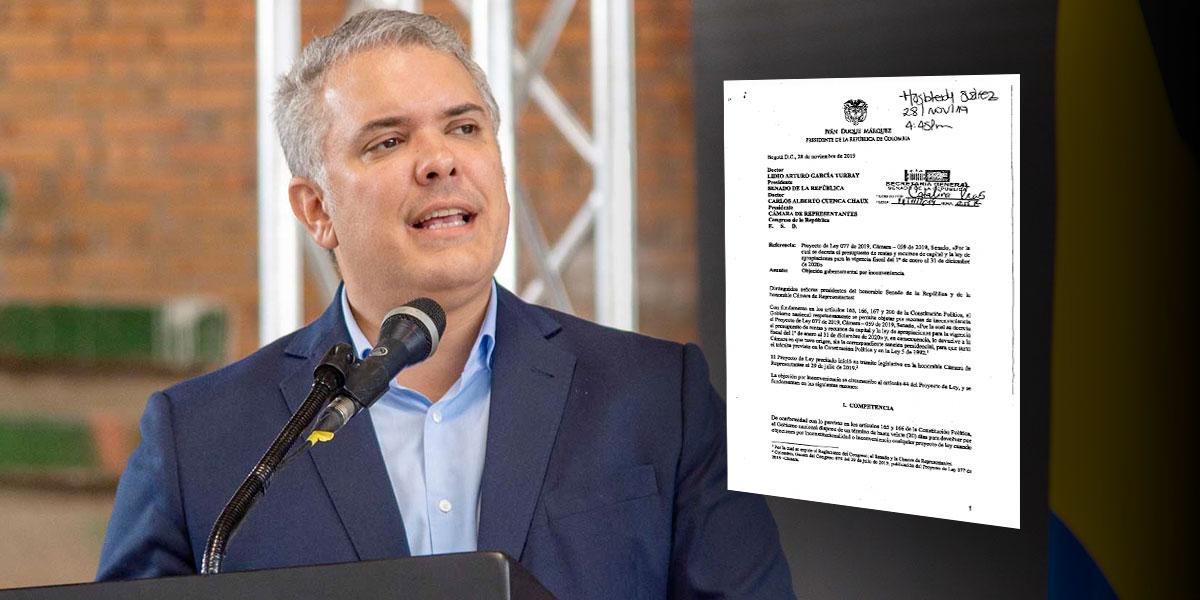 """El artículo de la Ley de Presupuesto 2020 que Duque objetó """"por inconveniencia"""""""