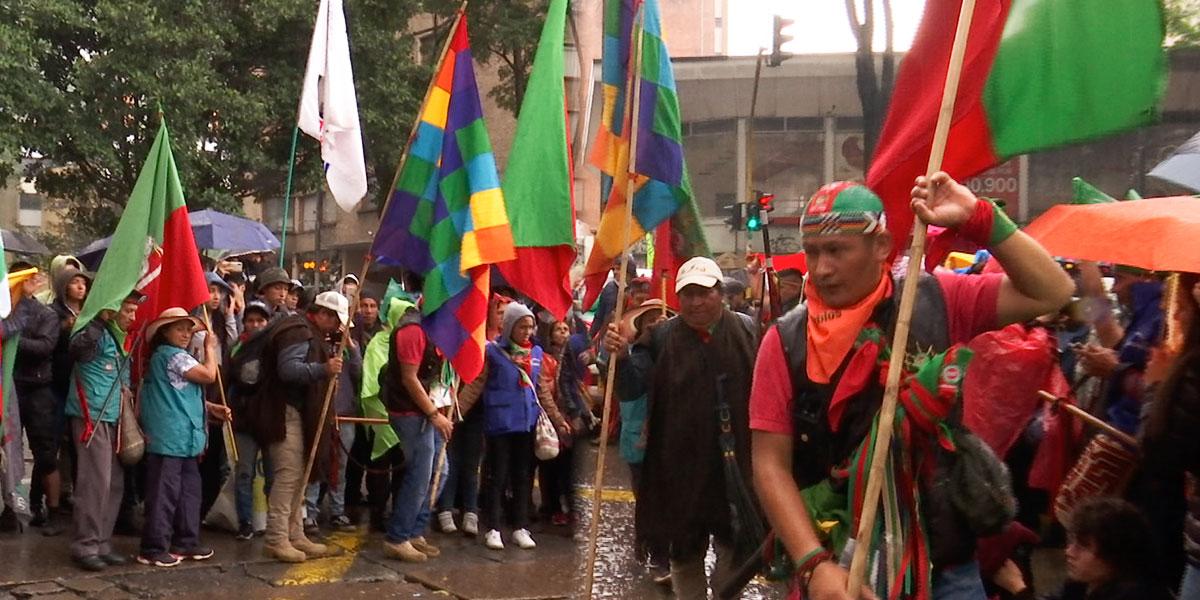 Indígenas rindieron homenaje a Dilan Cruz en el lugar donde cayó herido