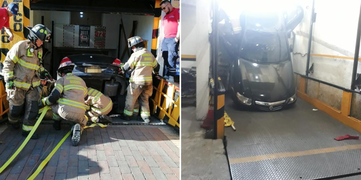 Carro cayó al vacío tras ingresar a parqueadero con plataforma electrónica en Chapinero