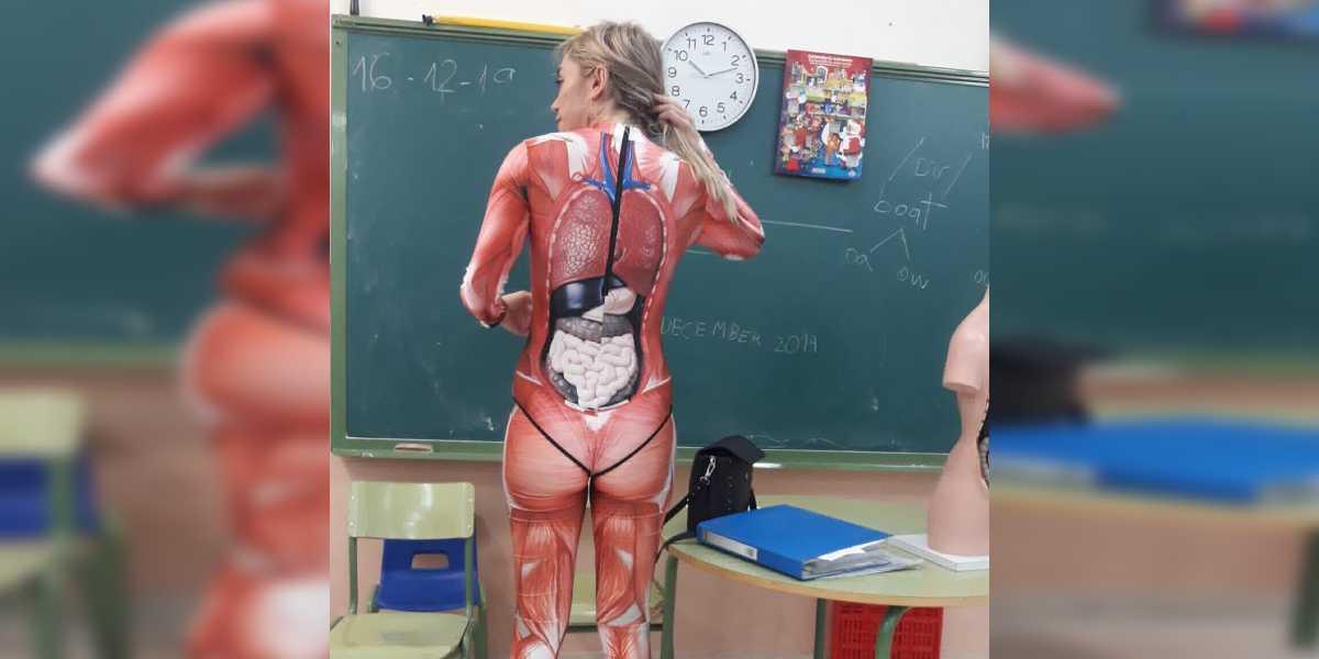 profesora viral cuerpo humano