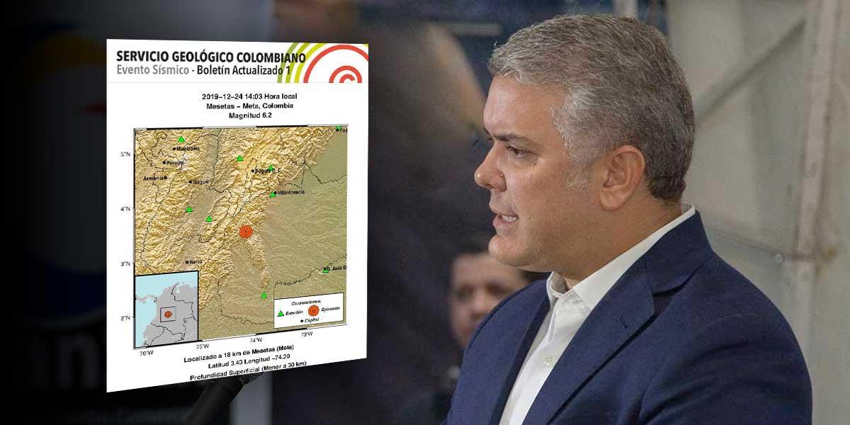 Presidente Duque ordena planes de contingencia y monitoreo tras sismos en el país