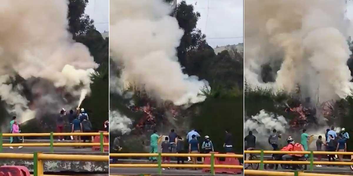 Video | Incendio en el norte de Bogotá se habría producido por corto circuito tras fuertes sismos